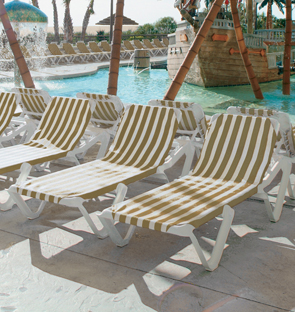 white plastic lounge chairs round cream table and nautical sling chaise pool furniture belson outdoors resin model 99101099 lounges khaki stripe
