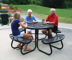 round picnic table with umbrella hole