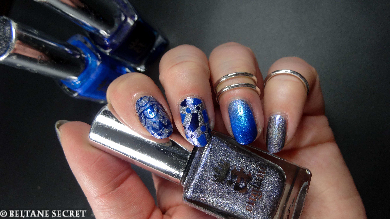 Nail art a england trio de bleus - Nail art bleu ...