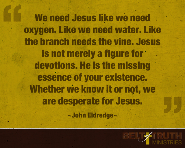 """We need Jesus like we need oxygen. Like we need water. Like the branch needs the vine. Jesus is not merely a figure for devotions. He is the missing essence of your existence. Whether we know it or not, we are desperate for Jesus."" —John Eldredge"
