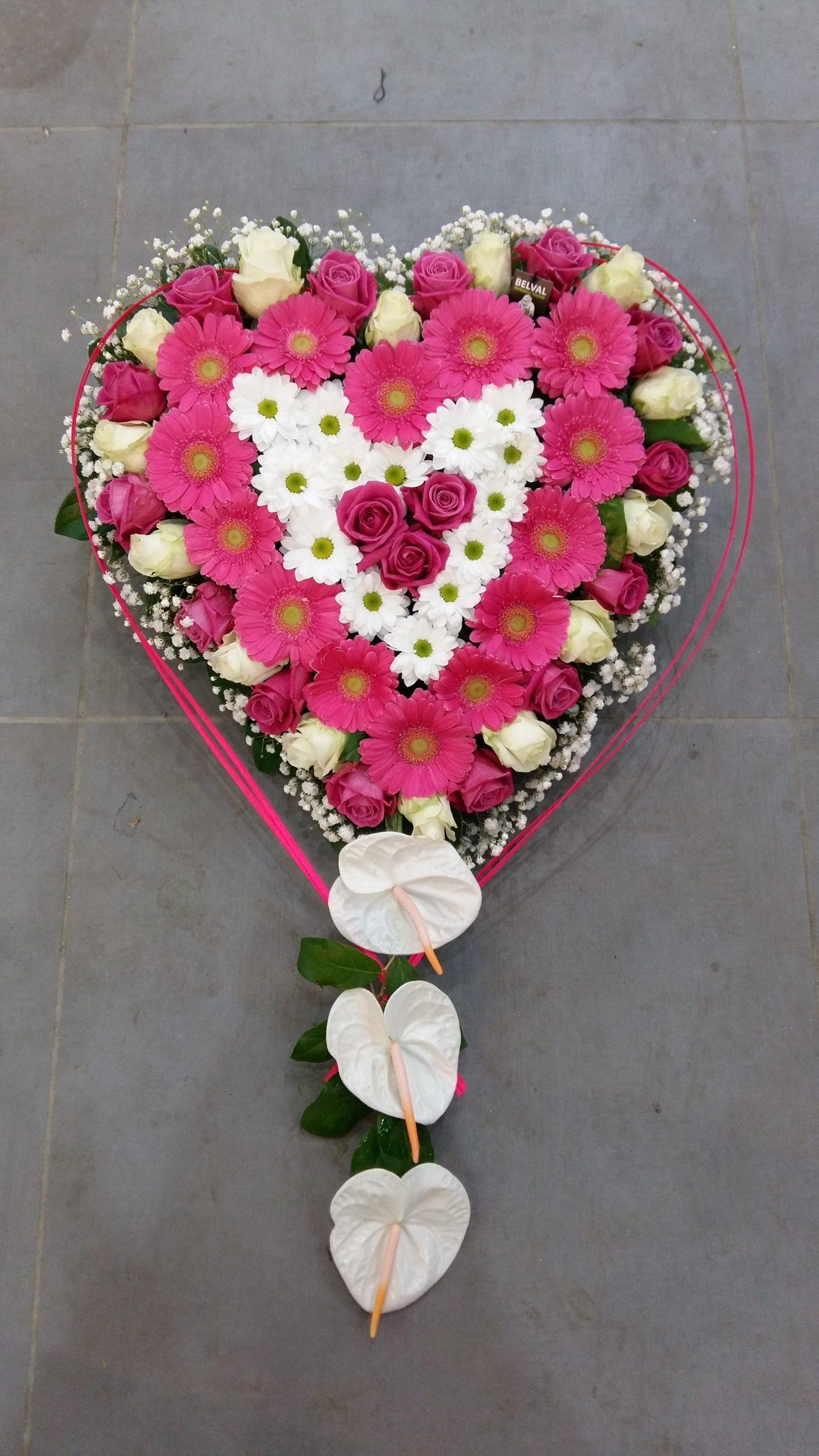 Coeur de fleurs Rose et Blanc long LAURA
