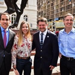 Felipe Alessandri, Francisca Aguirre, Claudio Orrego y Manuel Balmaceda en evento del Maratón de Santiago 2018