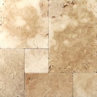 Frech Pattern Mocha Travertine Tumbled Tile | Travertine ...
