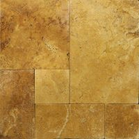 Gold French Pattern Tumbled Travertine Paver | Travertine ...