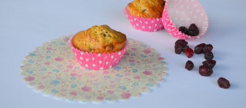 Muffins de Chocolate Branco e Arandos