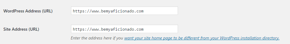 Wordpress Site address settings