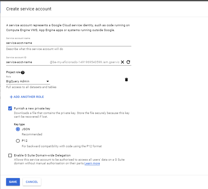 Service Account Creation Page Google cloud Platform