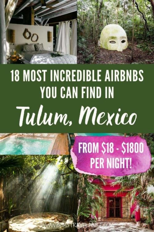 18 gorgeous Airbnbs you can find in Tulum Mexico on all budgets! Whether you are a solo traveler, traveling as a couple of a group of friends, this list has the perfect Airbnb in Tulum for you. Click to see all of the best places to stay while you are in Tulum, Mexico now. #Tulum #Mexico