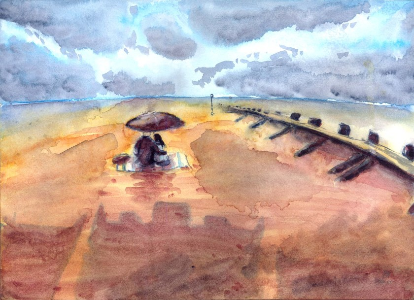 'Yoko' - watercolour landscape painting of a rainy Portobello Beach.