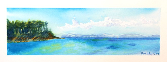 'Findhorn Bay' - watercolour painting by Ben Harley