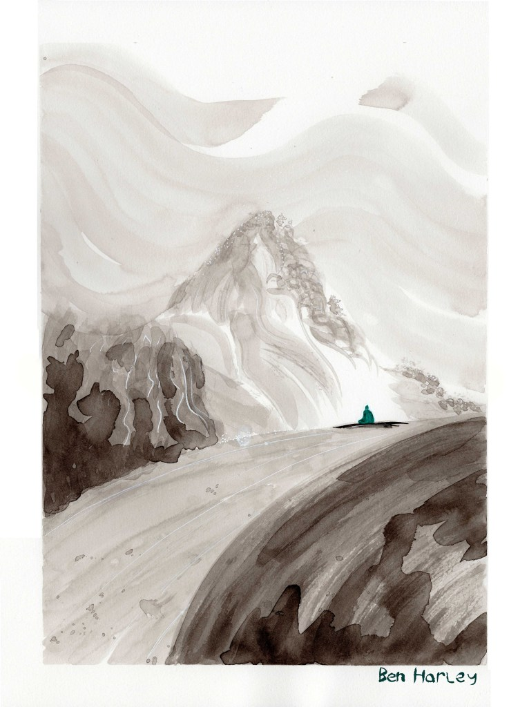'The Mountain' - Ink and watercolour painting by Ben Harley