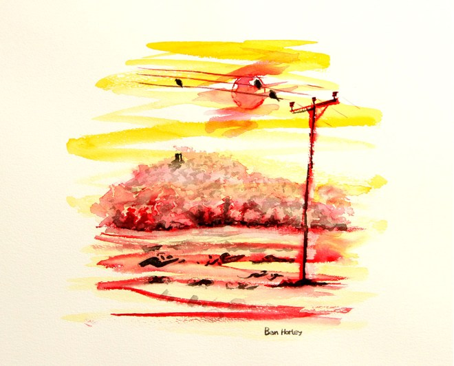 Ink and watercolour - visible for miles around, the hill is near-constantly shrouded in mist.