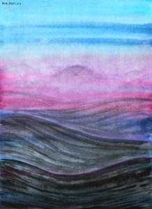 Over Storms: abstract ink & watercolour painting.