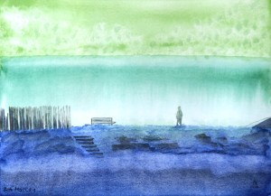 Out From Hopeman: watercolour landscape painting.