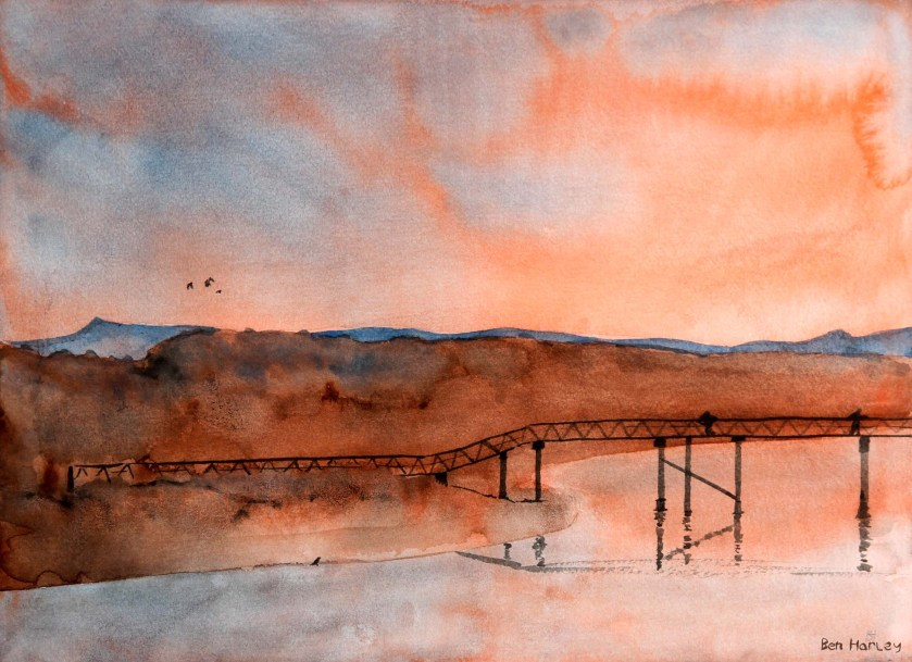 Summer Dawn - Lossiemouth: ink & watercolour landscape painting.