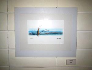 Ben Harley exhibiting watercolours and linocut prints in Diner 7 (Edinburgh).