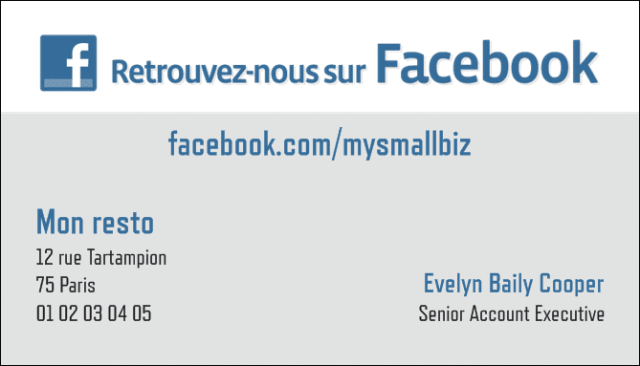 carte de visite fan facebook