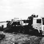 Crane loading a timber lorry