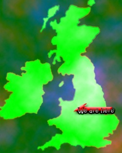 Map of UK with our base in Shrophire marked