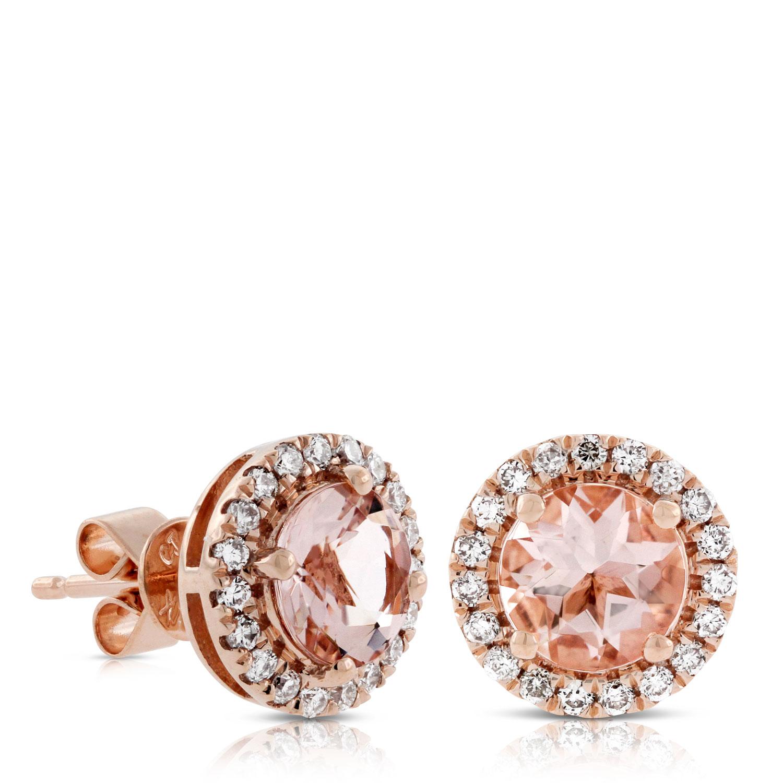 Rose Gold Diamond Earrings Certified 14k Rose Gold 4 G