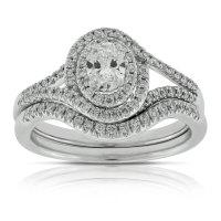 Oval Diamond Wedding Set 14K | Ben Bridge Jeweler