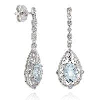 Aquamarine & White Topaz Dangle Earrings 14K | Ben Bridge ...