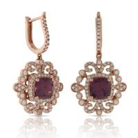 Rose Gold Rhodolite Garnet & Diamond Earrings 14K