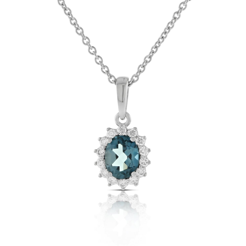 Blue Topaz Amp Diamond Pendant 14k