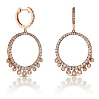 Rose Gold Circle Dangle Diamond Earrings 14K | Ben Bridge ...