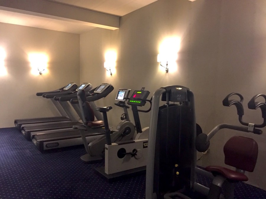 Functional and spacious gym in the basement of the Grand Sitea hotel. Large selection of free weights, and machines