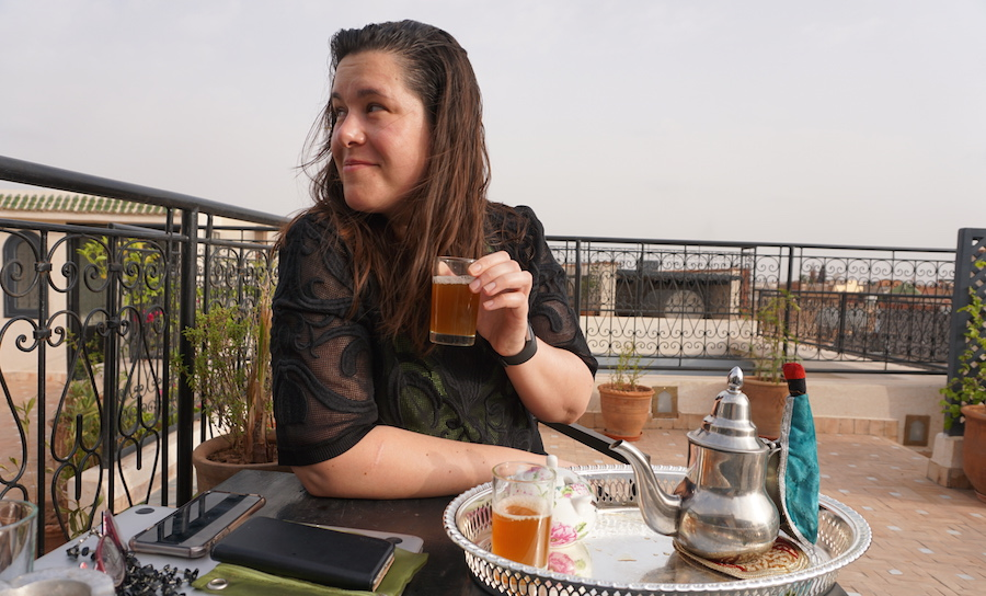 mint tea on marrakech rooftop