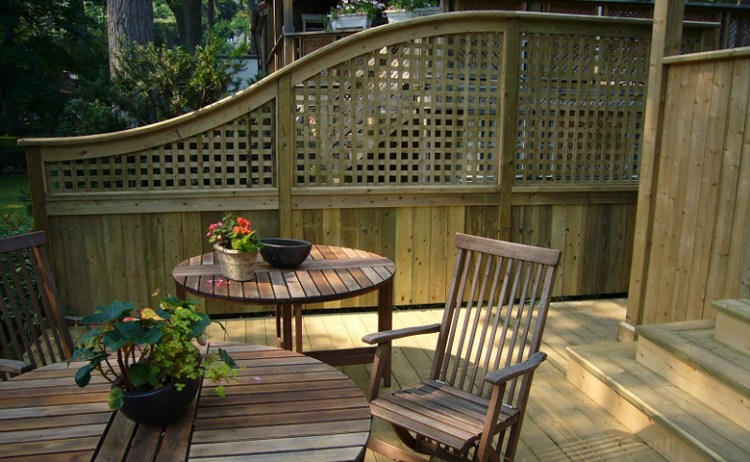 Deck with pressure-treated wood