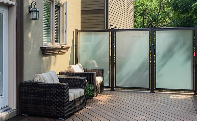 Glass privacy panels with composite decking
