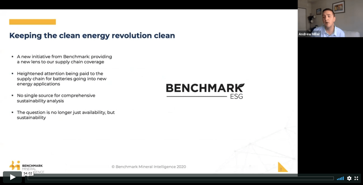 Benchmark ESG - a sustainable future for the battery supply chain