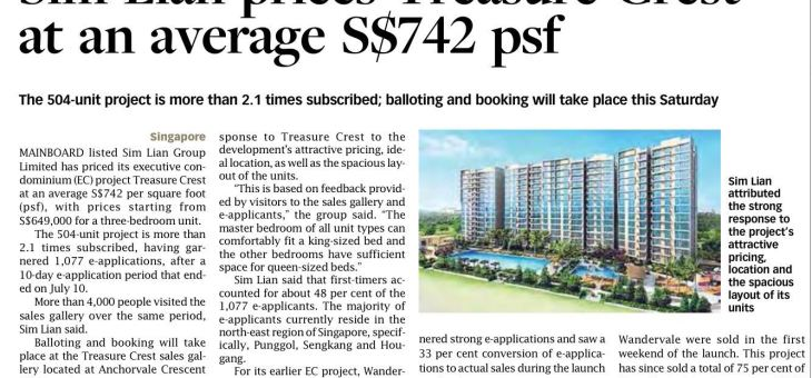 Treasure Crest EC priced at an average $742 psf