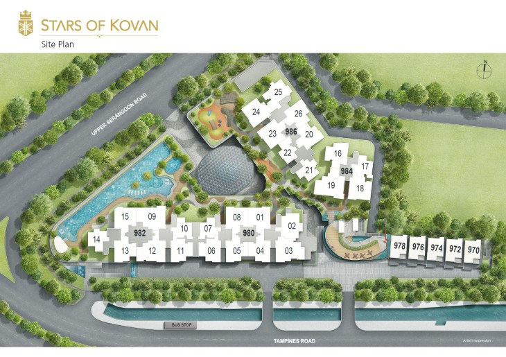 Stars of Kovan - Site Plan. Developed by Cheung Kong