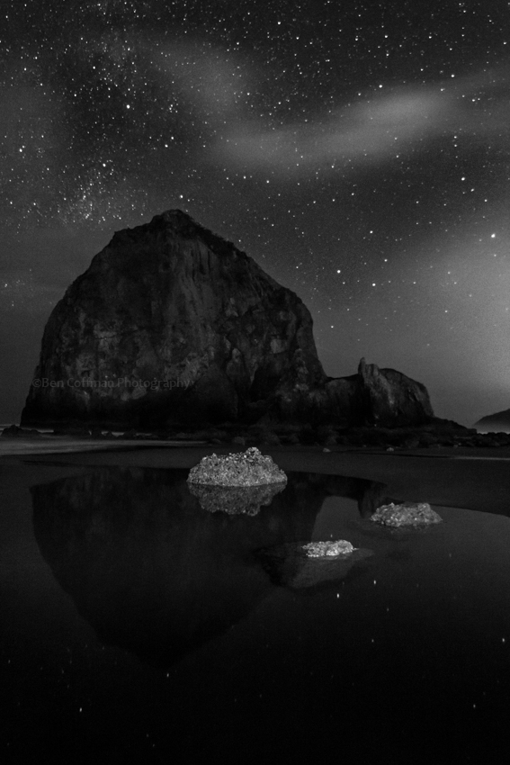 haystack rock, stars, milky way, star photography, cannon beach