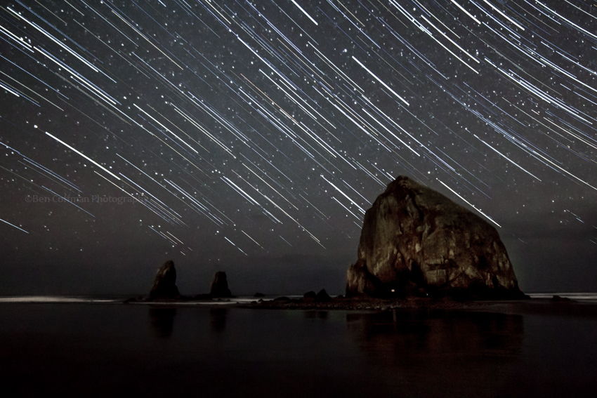 star trails, oregon coast, haystack rock, cannon beach