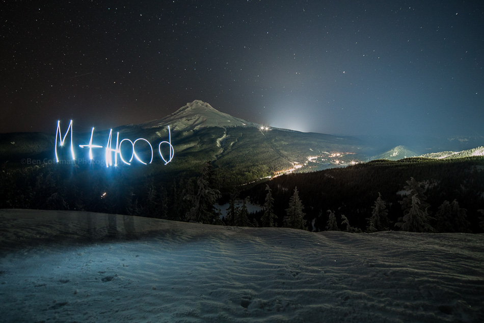"The words ""Mt Hood"" are light painted at night, with Mt Hood in the background"