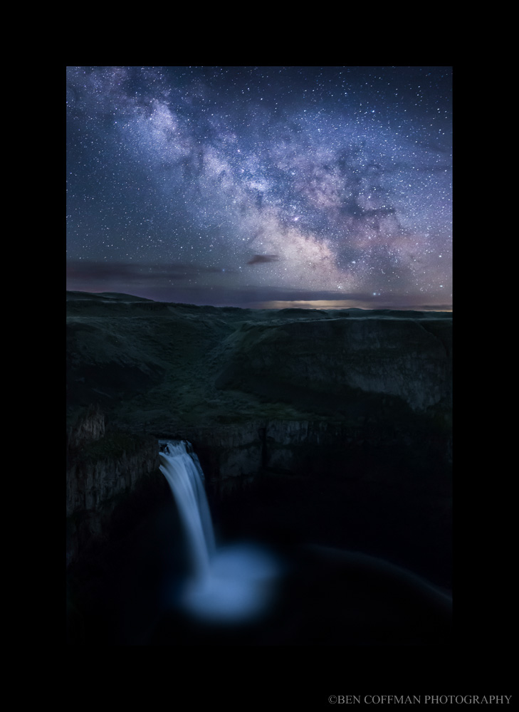 The Milky Way shines brightly over Palouse Falls in eastern Washington