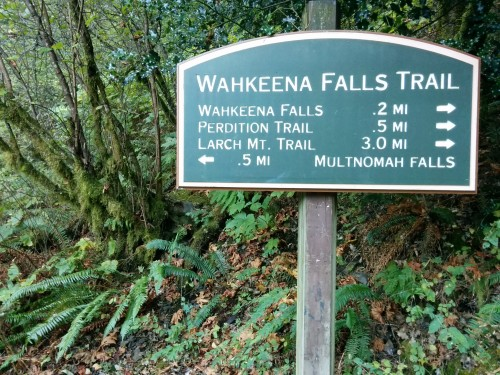 The trailhead sign at Wahkeena Falls.