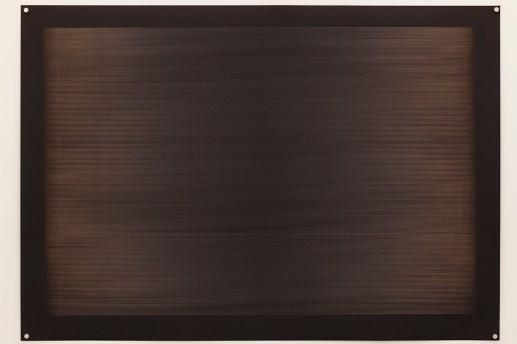 Laser line phase wave form no. 1, 2015, 100x70cm, 445nm laser on paper