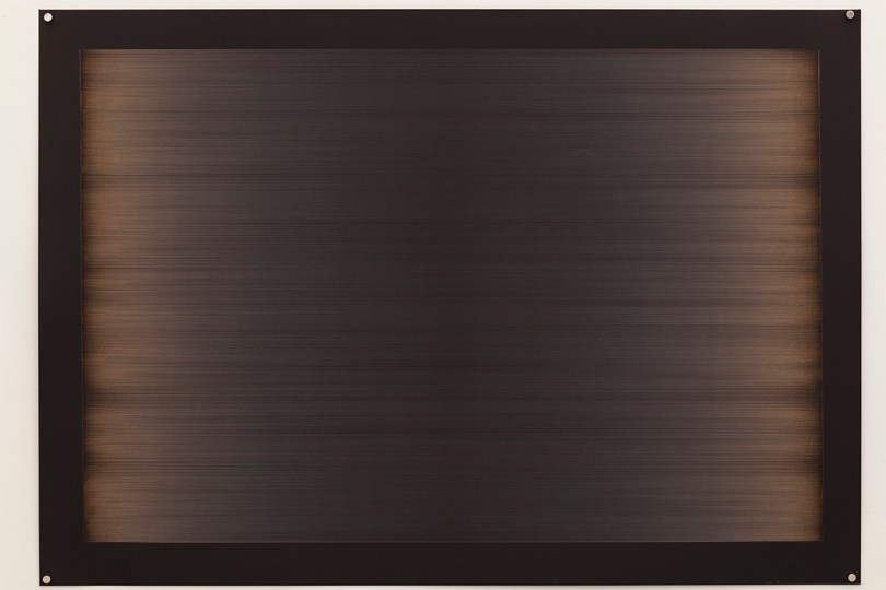Laser line phase no.6 (four passes), 2015, 100x70cm, 445nm laser on paper