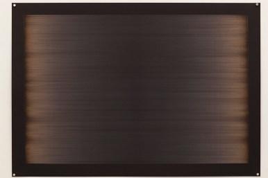 Laser line phase no.6 (four passes), 2015, 100x70cm, 445nm laser on paper