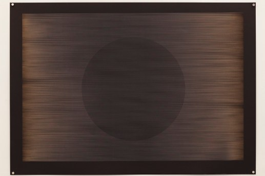 Laser multi-phase no.3 (Fibonacci delay with circle), 2015, 100x70cm, 445nm laser on paper