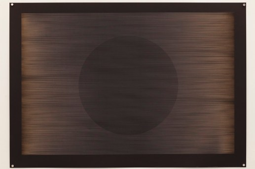 Laser multi-phase no.3 (Fibonacci delay with circle), 2015, 100x70cm, 445nm laser on paper