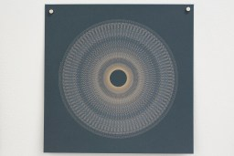 Variable speed spiral no. 4b (grey), 2016, 25x25cm, 445nm laser on paper.