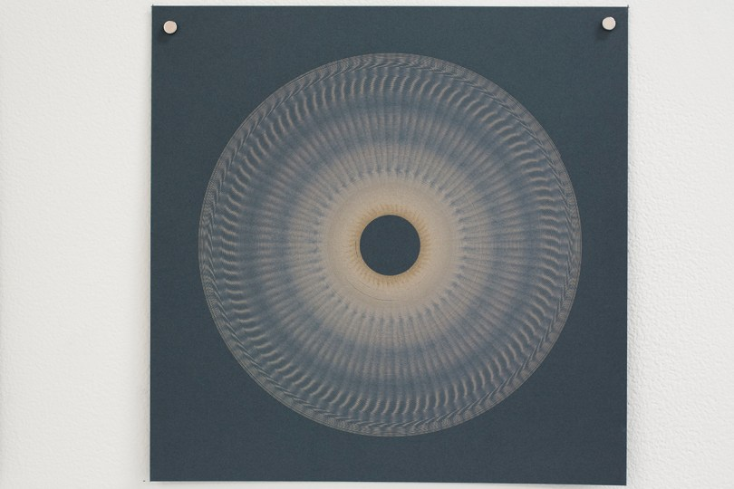 Variable speed spiral no. 9b (grey), 2016, 25x25cm, 445nm laser on paper.