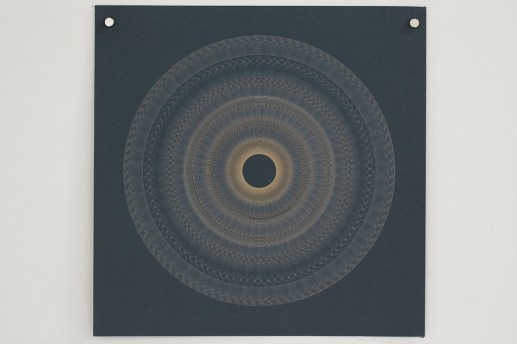 Variable speed spiral no. 21b (grey), 2016, 25x25cm, 445nm laser on paper.