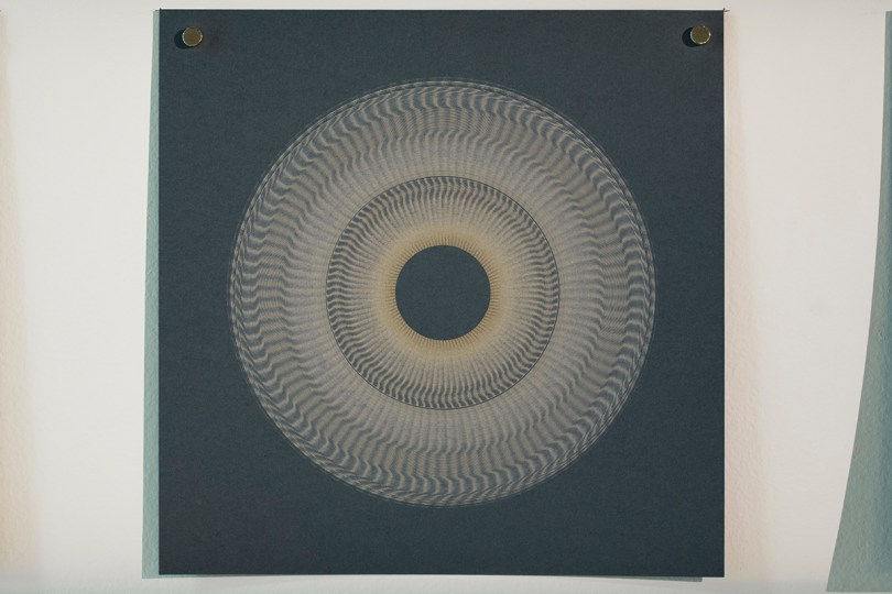Variable speed spiral no. 1a (grey), 2016, 20x20cm, 445nm laser on paper.